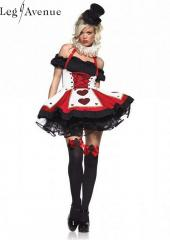 LegAvenue Costume Pretty Playing Card Peasant Top Dress w, Corset Waist & Neck Piece - Red,Black 83409