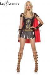 LegAvenue Costume Warrior Princess Underwire Faux Leather Dress w, Wrist Cuffs & Cape 83454