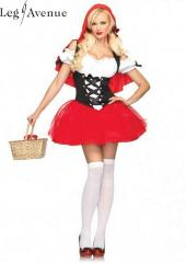 LegAvenue Costume Racy Red Riding Hood Tutu Peasant Dress w, Corset & Attached Hooded Cape 83615