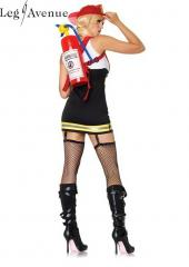 LegAvenue Costume Backdraft Babe Garter Dress w, Attached Cotton Tank, Reflective Trim & Suspenders 83626