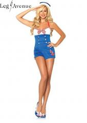 LegAvenue Costume High Seas Honey Romper w, Woven Anchor Detail & Sailor Hat 83638