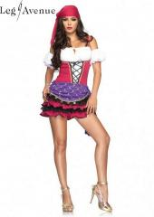 LegAvenue Costume Crystal Ball Gypsy Peasant Dress w, Ruffles Skirt, Puff Sleeves, & Head Scarf 83671