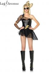 3PC LegAvenue Costume Lightening Rocker Asymmetrical Bodysuit w,Lace Sleeve & Skirt, Lightening Belt, & Gauntlet Glove 83828