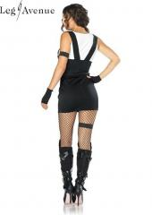 4PC LegAvenue Costume Sultry SWAT Officer Tank Dress w, Buckle Accents, Fingerless Gloves, Armband, & Garter 83850