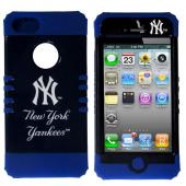 New York Yankees Licensed Rocker Series Black Hard Case Shell on Blue Silicone Skin Case for Apple iPhone 5/5S - MLB Licensed
