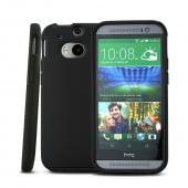 Incipio Black Dual PRO Series Hard Case on Black Silicone Skin for HTC One (M8) - HT-396-BLK