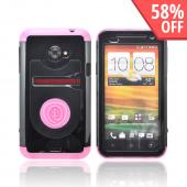 OEM Trident Cyclops HTC EVO 4G LTE Hard Cover Case w/ Built-In Screen Protector - Pink/ Black