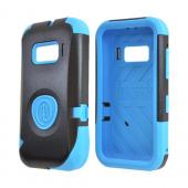 OEM Trident Aegis Alcatel One Touch 918 Hard Cover Over Silicone Case w/ Screen Protector - Blue/ Black