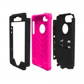 Apple iPhone SE / 5 / 5S  Case, Trident [Black/Hot Pink] KRAKEN AMS Series Hard Case Over Silicone Kickstand & Belt Clip w/ Screen Protector