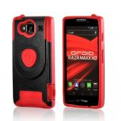 Red/ Black Trident Aegis Hard Cover Over Silicone Case w/Screen Protector for Motorola Droid RAZR MAXX HD