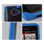 Trident Blue/ Black Aegis Series Hard Case on Silicone w/ Screen Protector for HTC Droid DNA