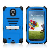 Trident Blue/ Black Kraken AMS Series Hard Case Over Silicone w/ Screen Protector, Kickstand, & Belt-Clip for Samsung Galaxy S4