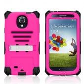 Trident Hot Pink/ Black Kraken AMS Series Hard Case Over Silicone w/ Screen Protector, Kickstand, & Belt-Clip for Samsung Galaxy S4