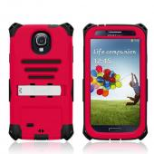 Trident Red/ Black Kraken AMS Series Hard Case Over Silicone w/ Screen Protector, Kickstand, & Belt-Clip for Samsung Galaxy S4