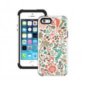 Trident Flower Flourish on White Aegis Design Series Hard Cover on Silicone Skin Case w/ Screen Protector for Apple iPhone 5/5S - ADG-APL-IP5S-WTP003