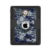Trident U.S. Navy Military Kraken AMS Series Blue Digital Camo Hard Cover on Silicone Skin Case w/ Built-In Screen Protector for Apple iPad 2/3/4 - KN-APIPDNUBKK08