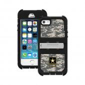 Trident U.S. Army Military Kraken AMS Series Gray Digital Camo Hard Cover on Silicone Skin Case w/ Built-In Screen Protector & Holster for Apple iPhone 5/5S - KN-APIP5S-BKK06