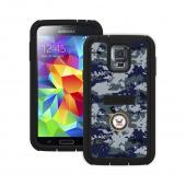 Trident U.S. Navy Military Cyclops Series Blue Digital Camo Thermo Poly Elastomer (Super TOUGH) Hard Case w/ Built-In Screen Protector for Samsung Galaxy S5 - CY-SSGXS5-BKK08