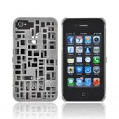 OEM Freshfiber Apple iPhone 4/4S Textured Nylon Hard Case w/ ID Slot - Gray Mondriaan