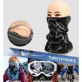 N-Rit Tube 9 Extreme 3 Multifuctional Face Mask Headwear [Black/Gray] Lightweight, Durable W/ Dual Ventilation Breathing System and Ear Muff