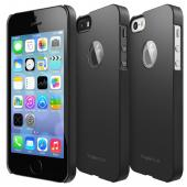 Black Apple iPhone 5/5S SLIM Series Premium Dual Coated Hard Cover Case w/ Logo Cut Out
