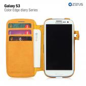 Zenus Samsung Galaxy S3 Masstige Leather Diary Case w/ ID Slots - Navy Blue/ Gold