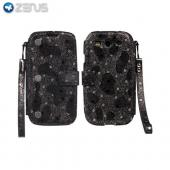 OEM Zenus Samsung Galaxy S3 Prestige Kelly Genuine Leather Diary Case w/ Wrist Strap & ID Slots - Black/ Silver