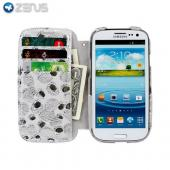 OEM Zenus Samsung Galaxy S3 Prestige Kelly Genuine Leather Diary Case w/ Wrist Strap & ID Slots - White/ Silver