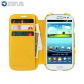 OEM Zenus Samsung Galaxy S3 Masstige Ostrich Leather Diary Case w/ ID Slots - Yellow
