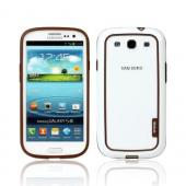 OEM Walnutt Samsung Galaxy S3 Metro Block Crystal Silicone Bumper - White/ Brown
