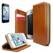 iPhone 5 / 5S Case - Ringke DISCOVER Case [Free HD Film][BROWN] Premium Genuine Leather Standing View Diary Case Flip Cover Wallet Case for Apple iPhone 5S/5