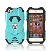 Premium Fusion Series Apple iPhone 5/5S Cobra GT Hard Cover Over Silicone Case w/ Screen Protector - Sky Blue/ Black