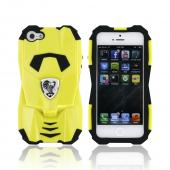 Premium Fusion Series Apple iPhone 5/5S Cobra GT Hard Cover Over Silicone Case w/ Screen Protector - Yellow/ Black