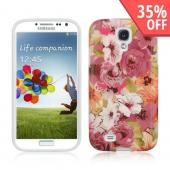 Vintage Pink Blossoms IMD Crystal Silicone Skin Case for Samsung Galaxy S4
