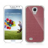 Pink Carbon Fiber Design on White Hard Case for Samsung Galaxy S4