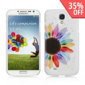 Rainbow Sunflower on White Hard Case for Samsung Galaxy S4