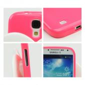 Neon Hot Pink Sparkle Crystal Silicone Skin Case w/ White Angel Wings for Samsung Galaxy S4