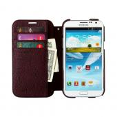 OEM Zenus Samsung Galaxy Note 2 Masstige Color Edge Diary Series Leather Case w/ ID Slots - Wine Red/ Brown