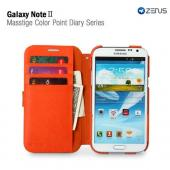 Orange/ Beige OEM Zenus Masstige Series Color Point Leather Diary Case w/ ID Slots for Galaxy Note 2