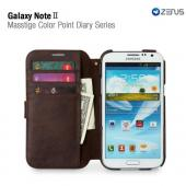 Brown/ Green OEM Zenus Masstige Series Color Point Leather Diary Case w/ ID Slots for Galaxy Note 2