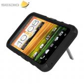 Seidio Active HTC EVO 4G LTE Rubberized Hard Cover Over Silicone w/ Kickstand - Black