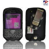 Black Turtleback Ballistic Nylon Pouch w/ Heavy Duty Steel Swivel Belt Clip for Blackberry Q10