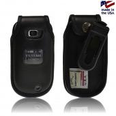 Black Turtleback Genuine Leather Pouch w/ Plastic Swivel Belt Clip for LG Revere 2