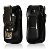 Black Turtleback Heavy Duty Premium Leather Case w/ Steel Swivel Belt Clip for Samsung C414