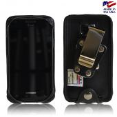Black Turtleback Genuine Leather Pouch w/ Heavy Duty Steel Swivel Belt Clip for AT&T Samsung Galaxy S2