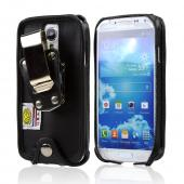 Black Turtleback Genuine Leather Pouch w/ Heavy Duty Steel Swivel Belt Clip for Samsung Galaxy S4