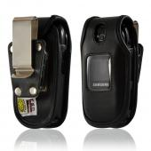 Turtleback Black Leather Pouch w/ Heavy Duty Steel Swivel Belt Clip for Samsung Gusto U360