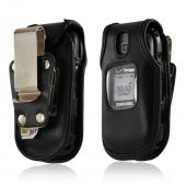 Turtleback Black Leather Pouch w/ Heavy Duty Steel Swivel Belt Clip for Samsung Gusto 2 U365