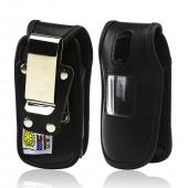 Black Turtleback Genuine Leather Pouch w/ Heavy Duty Steel Swivel Belt Clip for Samsung Crono 2 R270