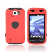 Original Trident Aegis HTC Mytouch 4G Slide Anti-Skid Hard Cover Over Silicone Case w/ Screen Protector & 3.5mm Audio Jack Extender, AG-MTS-RD - Red/ Black